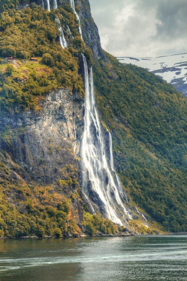 Фьорд водопада стоковая фотография