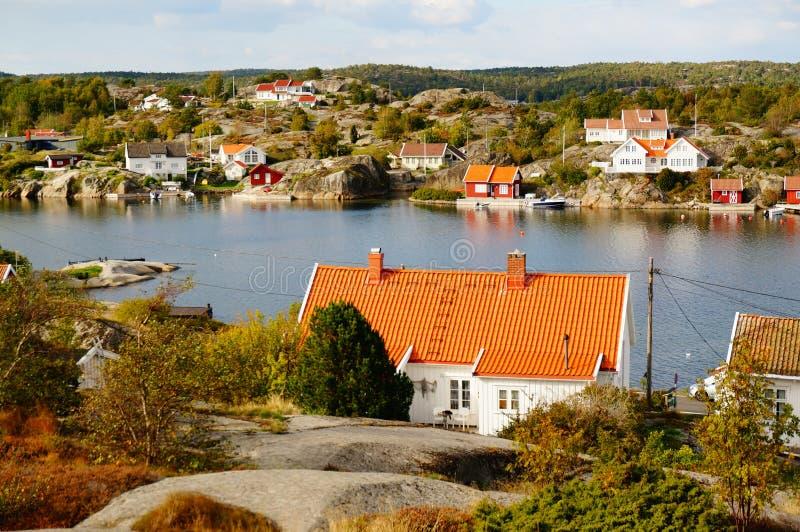 Фьорд Kragero вида с воздуха, Portor в Норвегии стоковое фото