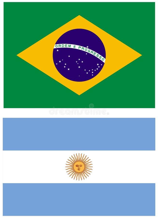 2 флага Южной Америки стоковое фото