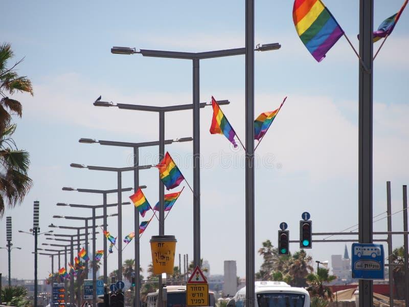 Флаги гей-парада в Тель-Авив стоковые фото