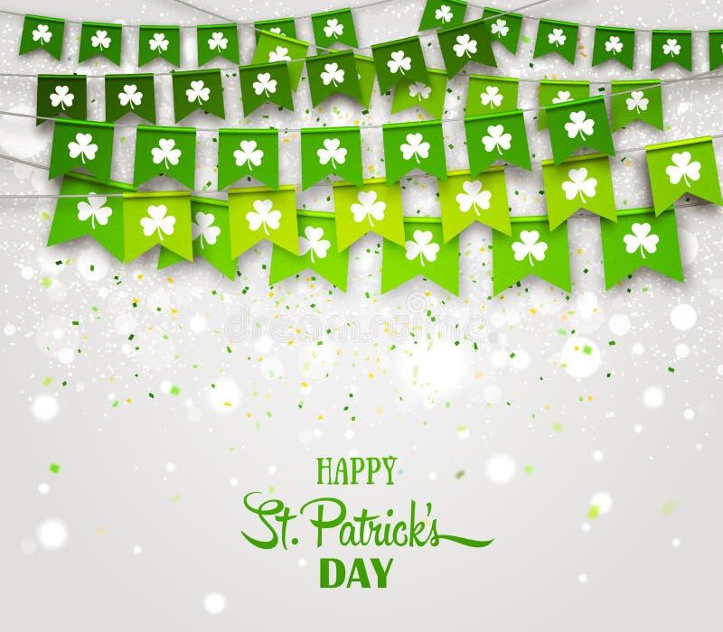 Флаги гирлянды с клеверами Ирландский день ` s St. Patrick праздника бесплатная иллюстрация