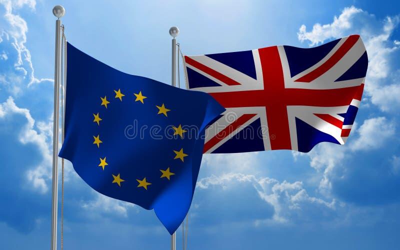 Флаги Европейского союза и Великобритании летая совместно для Brexit говорят, перевод 3D иллюстрация вектора
