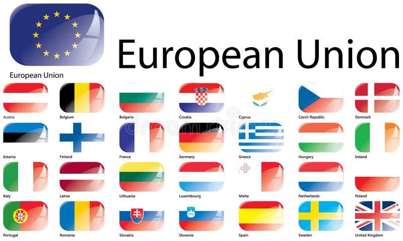 Флаги Европейского союза иллюстрация вектора