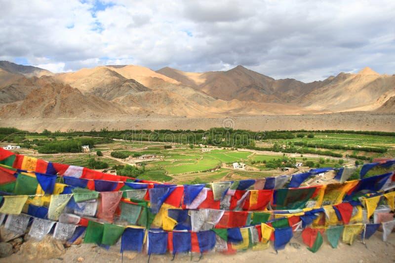Флаги и ландшафт Ladakh (Индия) стоковые изображения