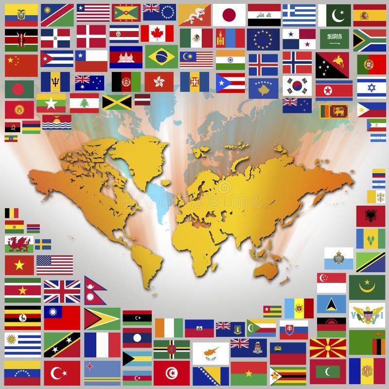 Флаги и карта мира иллюстрация штока