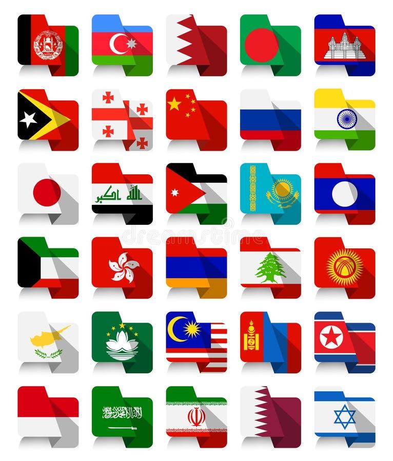 Флаги плоского дизайна азиатские развевая иллюстрация штока