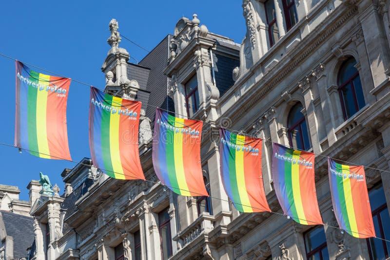 Флаги радуги гей-парада в Антверпене, Бельгии стоковая фотография