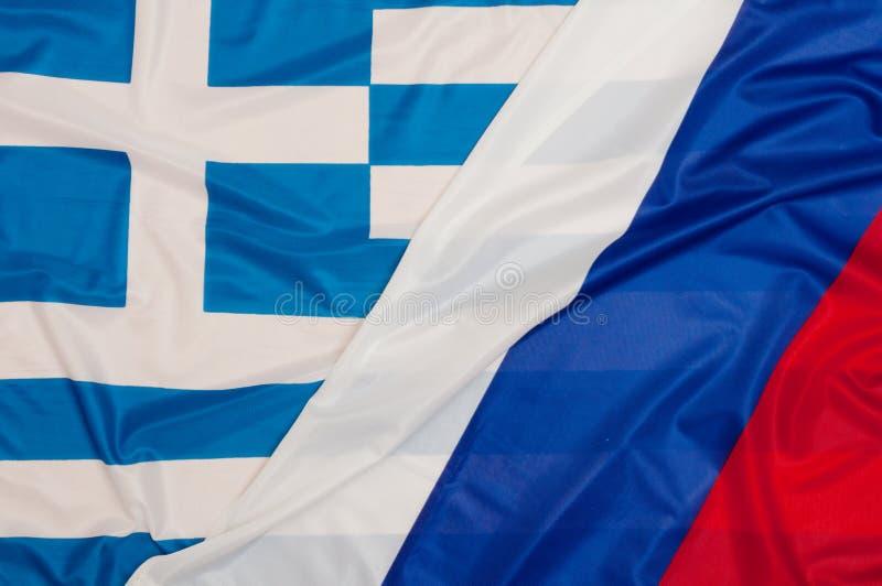 Флаги России и Греции стоковое фото rf