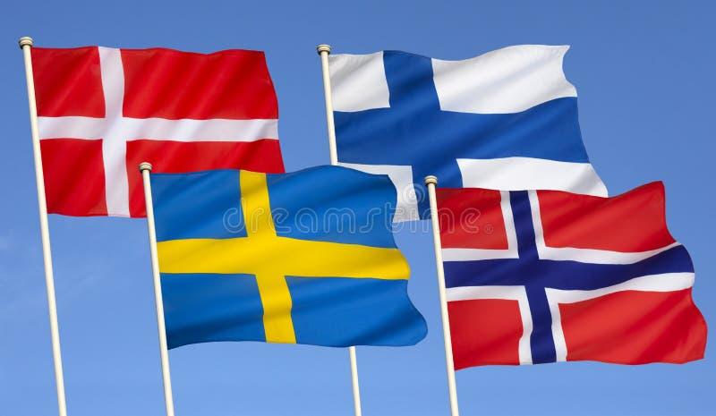 Флаги Скандинавии - Северн Северного стоковые фотографии rf