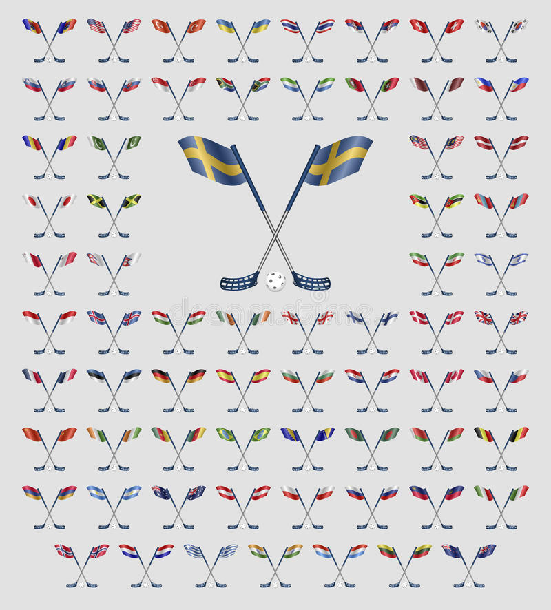 Флаги страны логотипа Floorball иллюстрация вектора