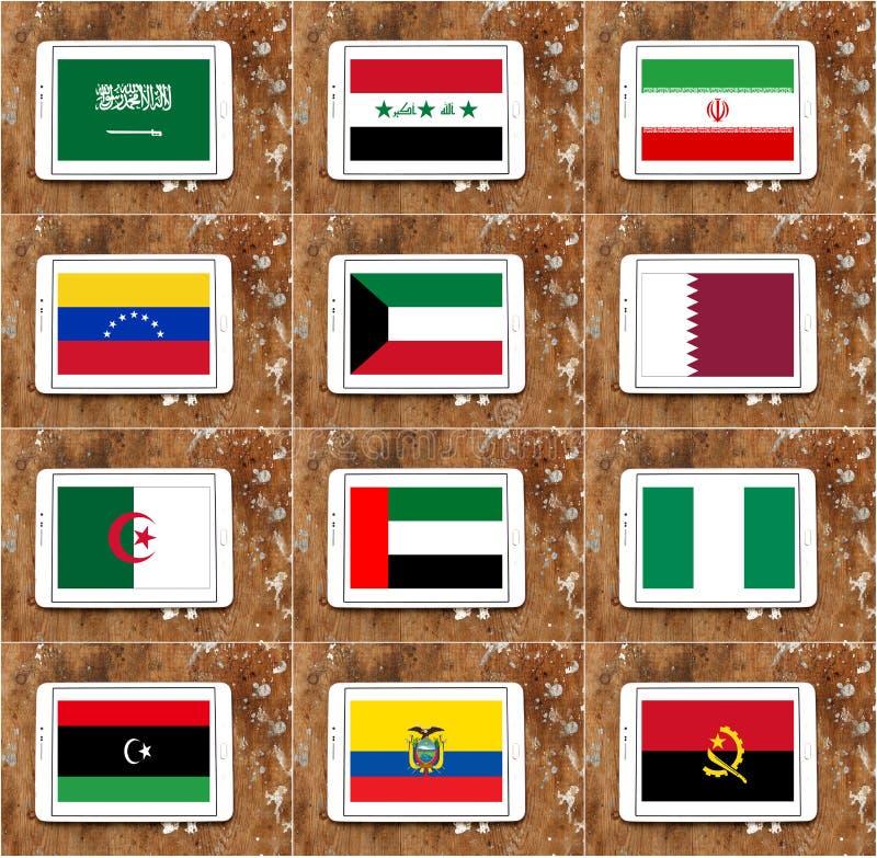 Флаги стран ОПЕК иллюстрация вектора