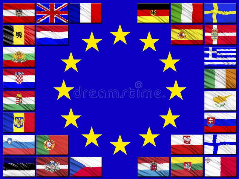 Флаги стран принадлежа к Европейскому союзу бесплатная иллюстрация