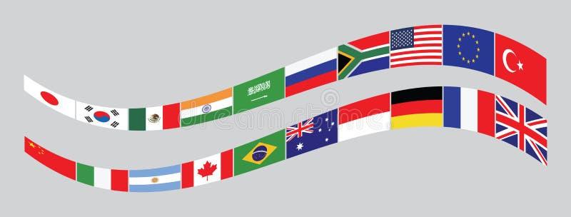 Флаги стран G20 или флаги мира иллюстрация штока