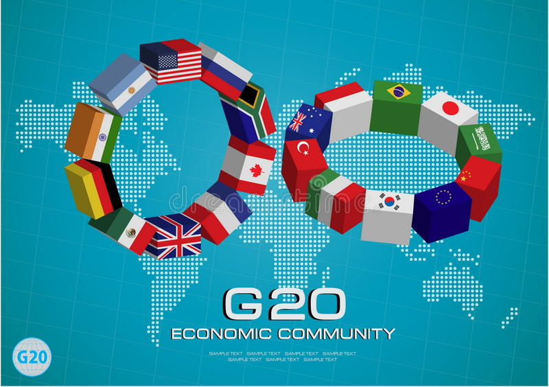 Флаги стран G20 или флаги элемента мира конструируют иллюстрация вектора