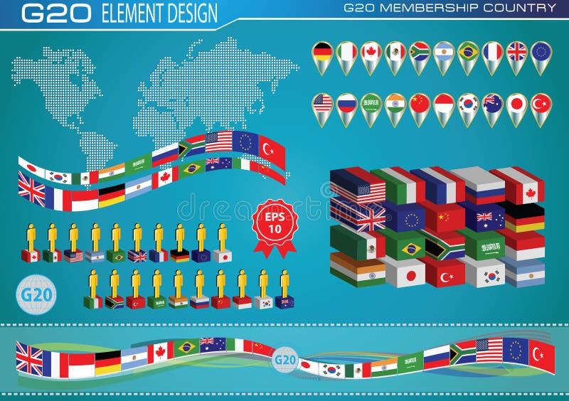 Флаги стран G20 или флаги eleement мира конструируют бесплатная иллюстрация