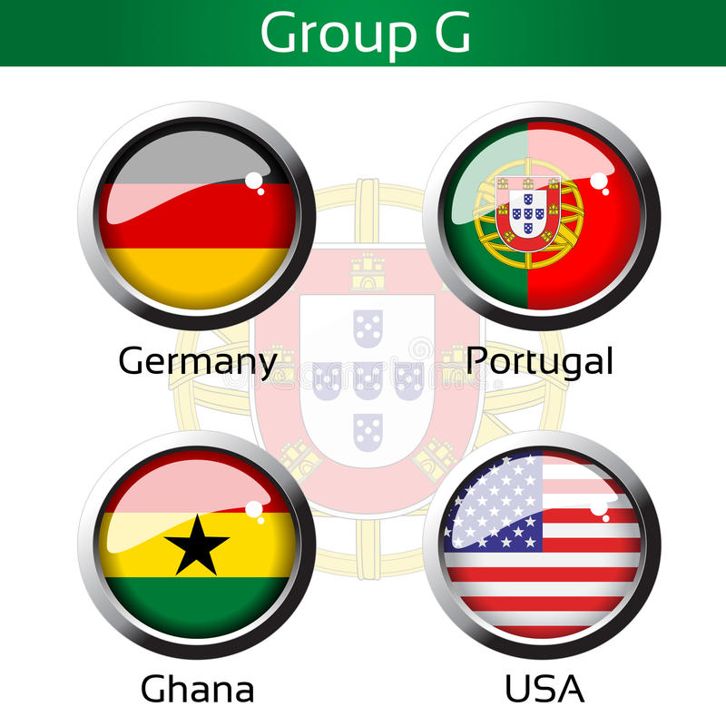 Флаги - футбол Бразилия, группа g - Германия, Португалия, Гана, США иллюстрация вектора