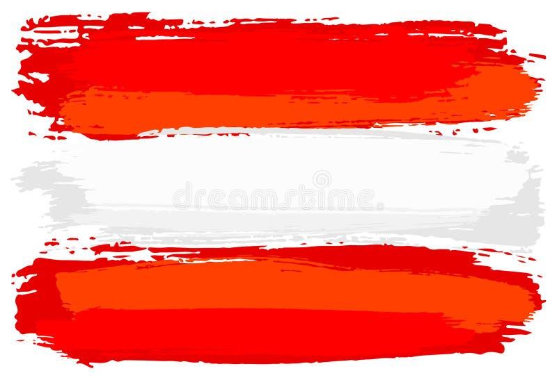 Флаг Австрии покрасил с ходами щетки иллюстрация вектора