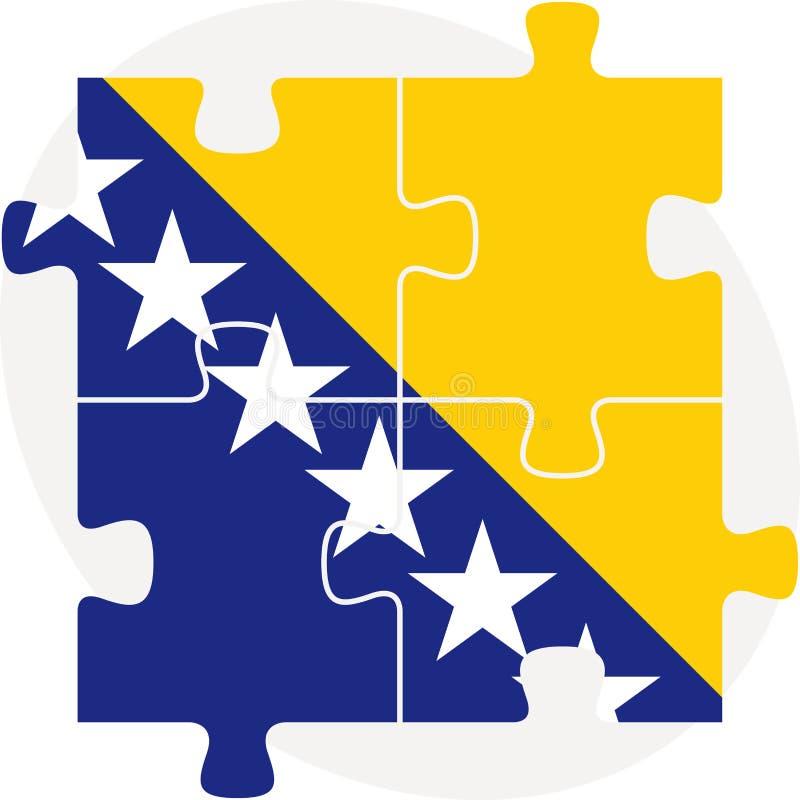 Флаг Боснии Herzegovinan в головоломке иллюстрация вектора