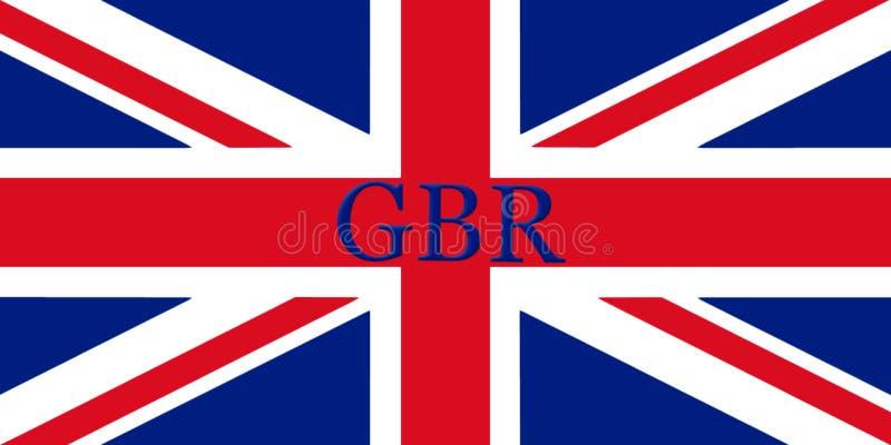 Флаг Великобритании при имя страны написанное на ем illustrati 3D иллюстрация штока