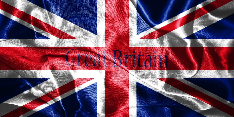 Флаг Великобритании дунутый в ветре с именем страны написанным o иллюстрация вектора