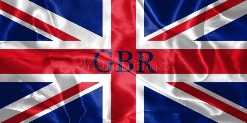 Флаг Великобритании дунутый в ветре с именем страны написанным o бесплатная иллюстрация