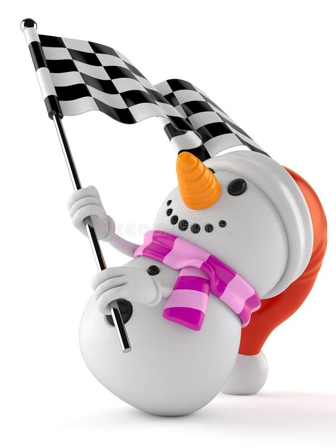 Флаг гонки характера снеговика развевая иллюстрация штока