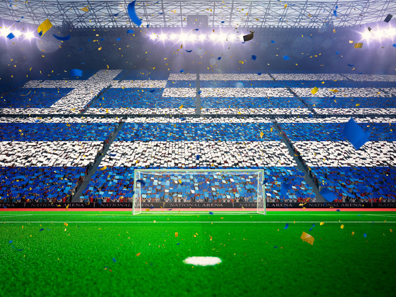 Флаг Греция вентиляторов Синь арены стадиона вечера стоковые фото
