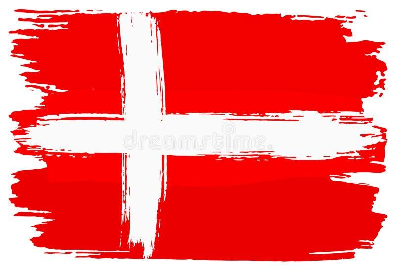 Флаг Дании покрасил с ходами щетки иллюстрация штока