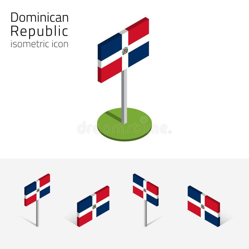 Флаг Доминиканской Республики, комплект вектора равновеликих плоских значков 3D бесплатная иллюстрация