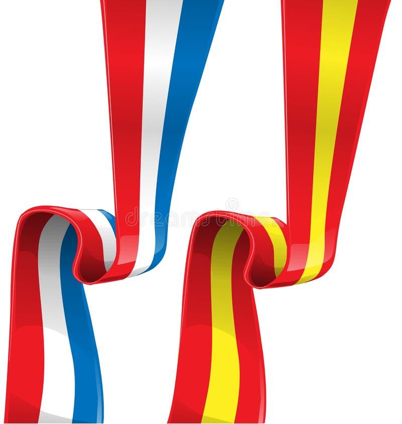 Флаг ленты Франции и Испании иллюстрация вектора