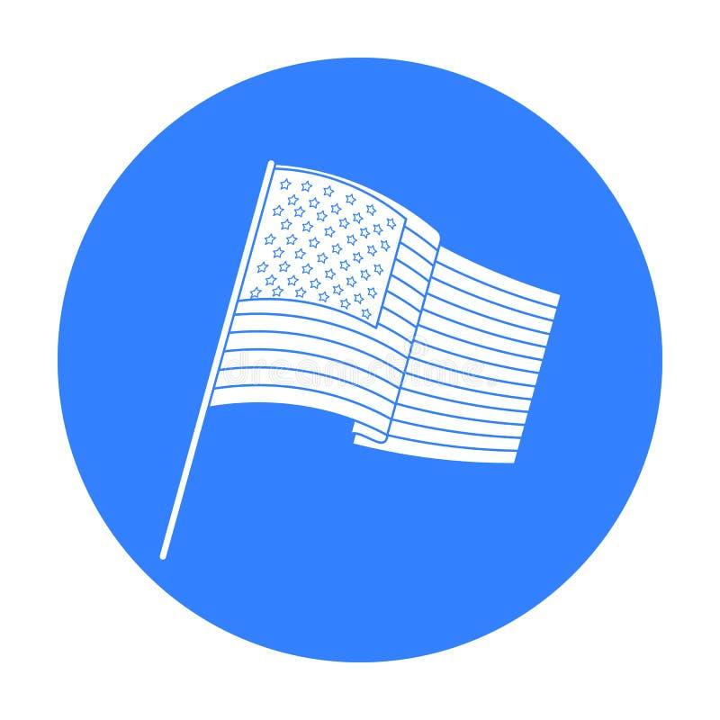 Флаг значка Соединенных Штатов в черном стиле изолированного на белой предпосылке Иллюстрация вектора запаса символа страны США иллюстрация вектора
