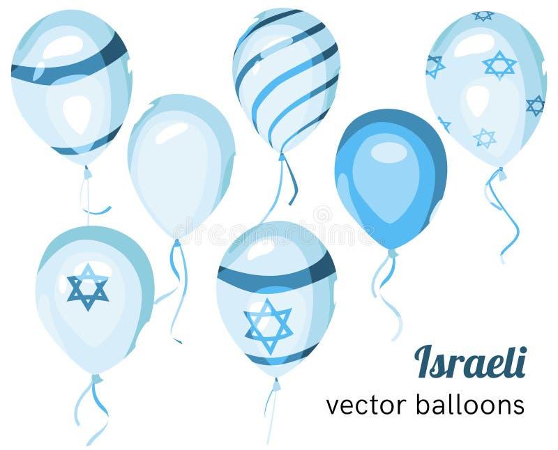 Флаг Израиля на воздушном шаре Воздушные шары израильтянина вектора иллюстрация штока