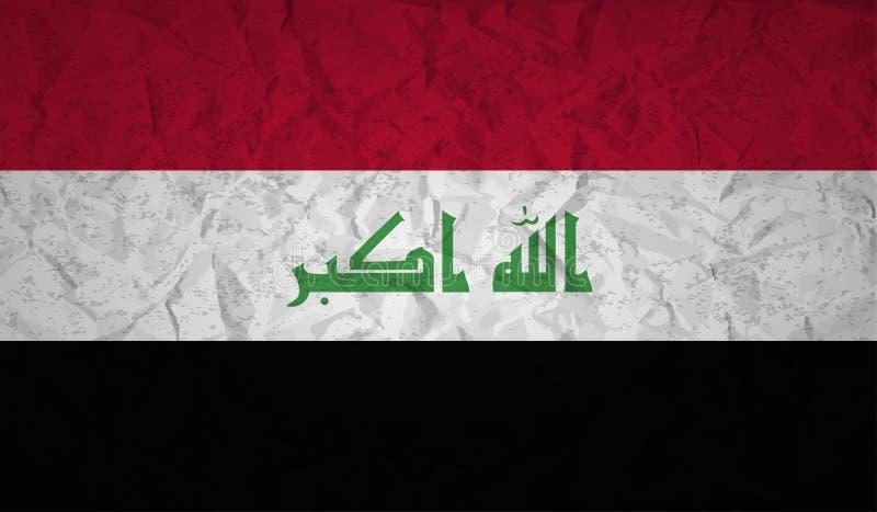 Флаг Ирака с влиянием скомканной бумаги и grunge иллюстрация штока