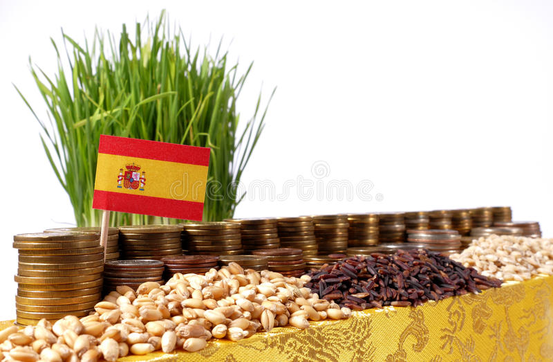 Флаг Испании развевая с стогом монеток денег и кучами пшеницы стоковые изображения