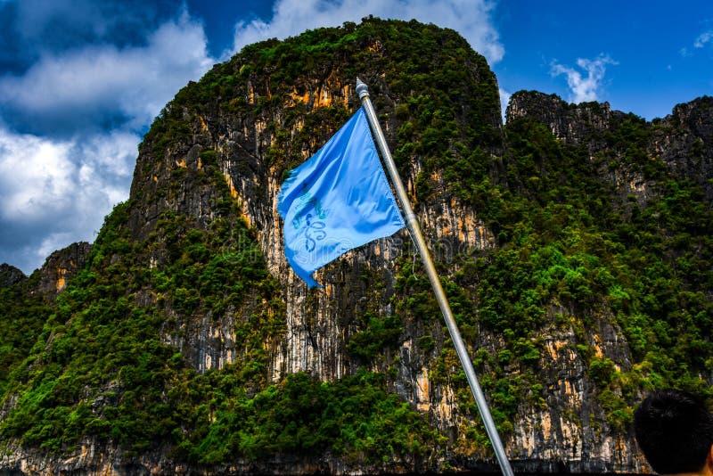 Флаг и гора корабля стоковое изображение rf