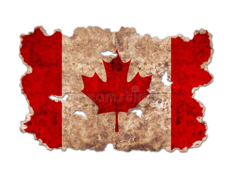 Флаг Канады в форме сорванной винтажной бумаги стоковая фотография