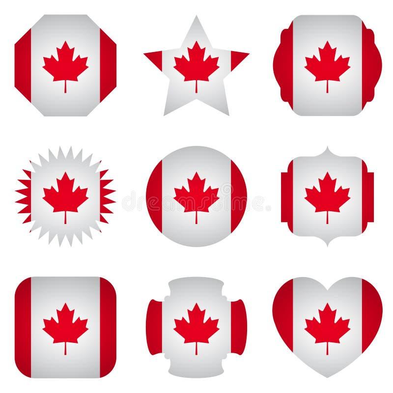 Флаг Канады с различными формами на белой предпосылке иллюстрация штока
