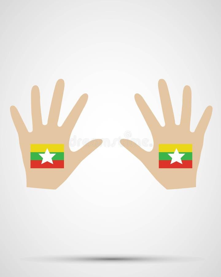 Флаг Мьянмы дизайна руки бесплатная иллюстрация