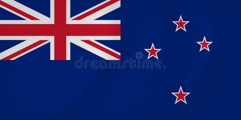 Флаг Новой Зеландии развевая иллюстрация вектора
