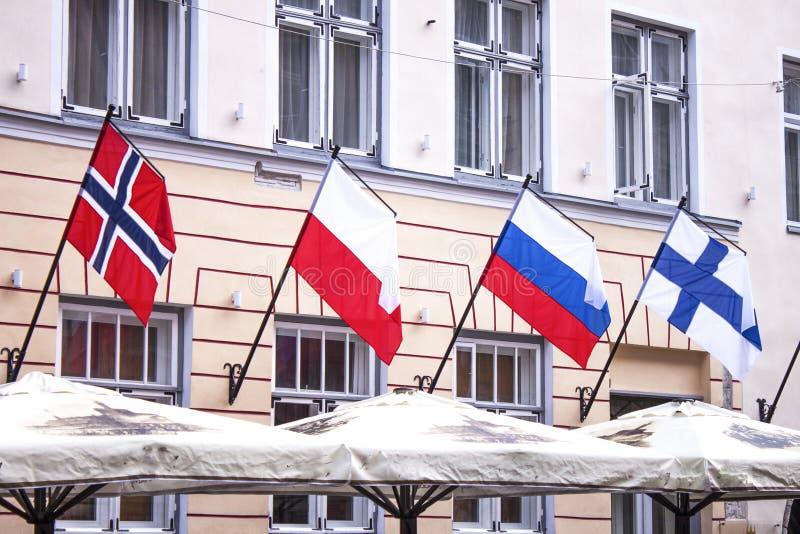 Флаг Норвегии Польши России Финляндии стоковые изображения