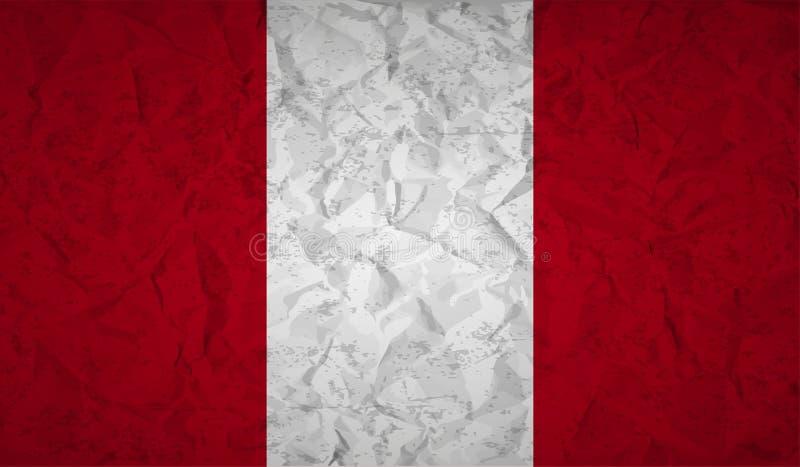 Флаг Перу с влиянием скомканной бумаги и grunge бесплатная иллюстрация