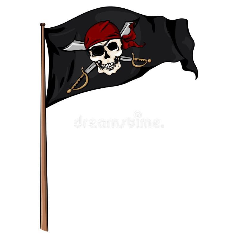 Флаг пирата шаржа вектора порхая в ветре иллюстрация штока