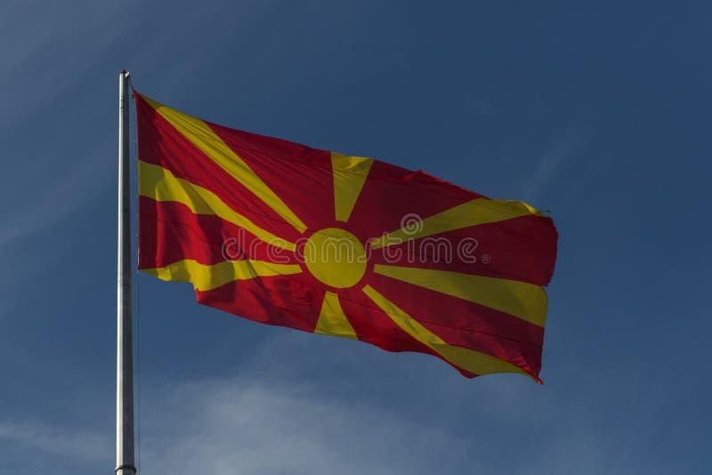 Флаг Республики Македония стоковая фотография