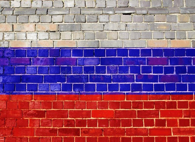 Флаг России на кирпичной стене стоковое фото