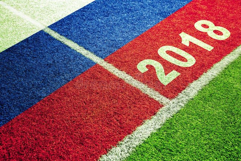 Флаг России на предпосылке футбольного поля стоковое изображение rf