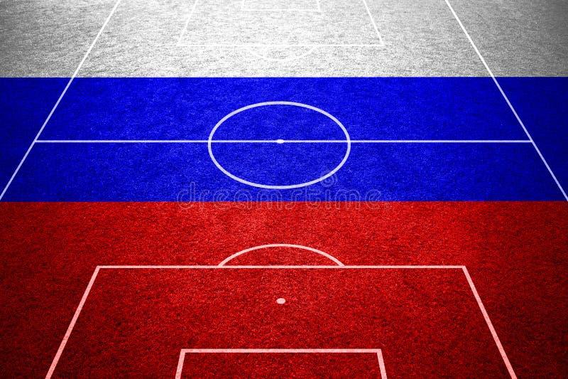 Флаг России на пустом футбольном поле стоковое фото rf