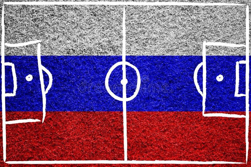 Флаг России покрашенный на футбольном поле стоковое фото