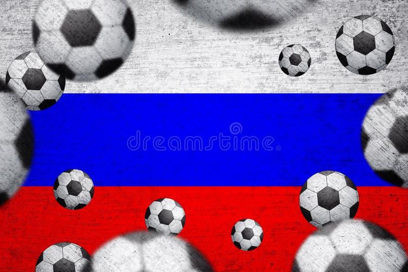 Флаг России с предпосылкой футбольных мячей стоковые фотографии rf