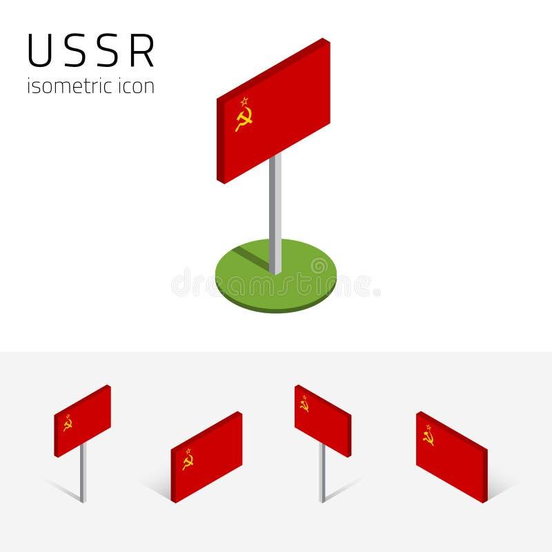 Флаг СССР, комплект вектора равновеликих плоских значков 3D иллюстрация штока
