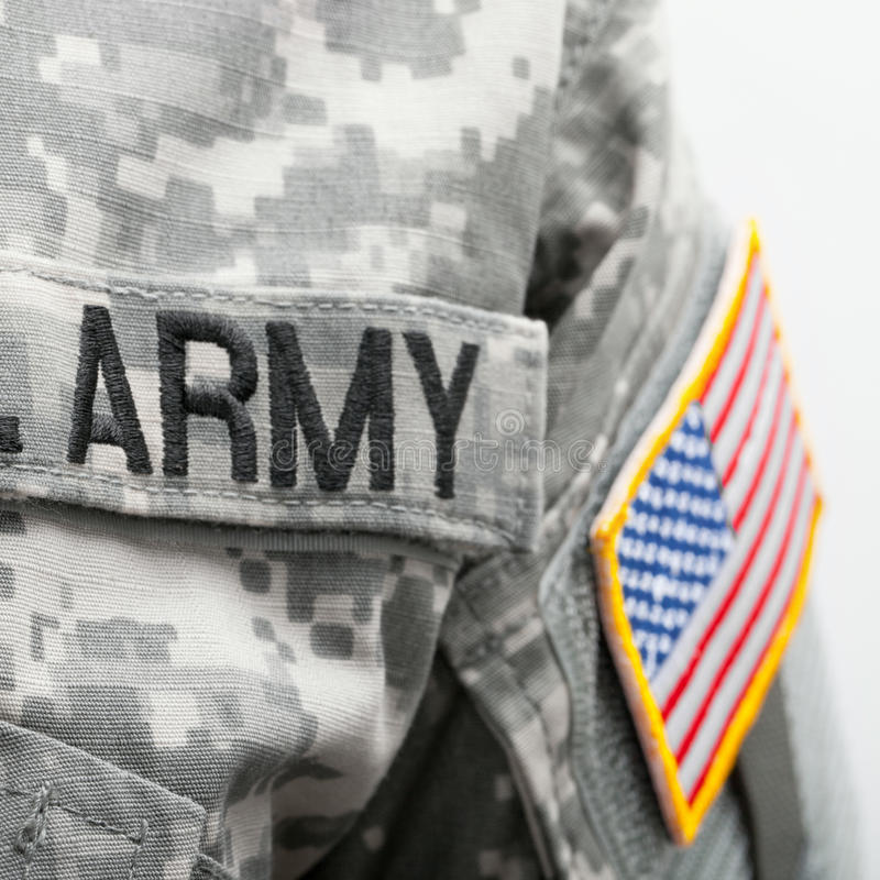 Флаг США и u S Заплата армии на форме припоя стоковое фото rf